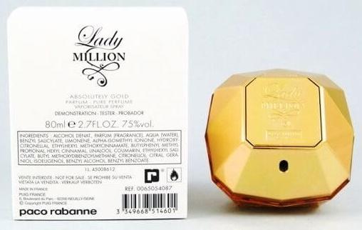 Paco Rabanne Lady Million Absolutely Gold, Parfémovaná voda - Tester, 80ml, Dámska vôňa, + AKCE: dárek zdarma
