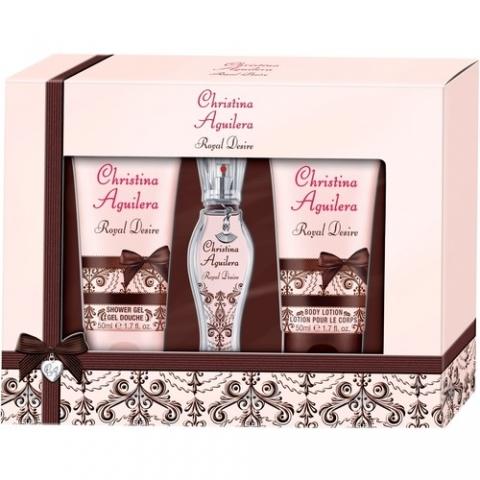 Christina Aguilera Royal Desire, Dárková sada, parfémovaná voda 15ml + sprchový gel 50ml + tělové mléko 50ml, Dámska vôňa, + AKCE: dárek zdarma
