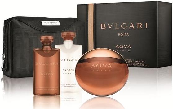 Bvlgari Aqva Amara, Dárková sada, toaletní voda 100ml + balzám po holení 75ml + sprchový gel 75ml + kosmetická taška , Pánska vôňa