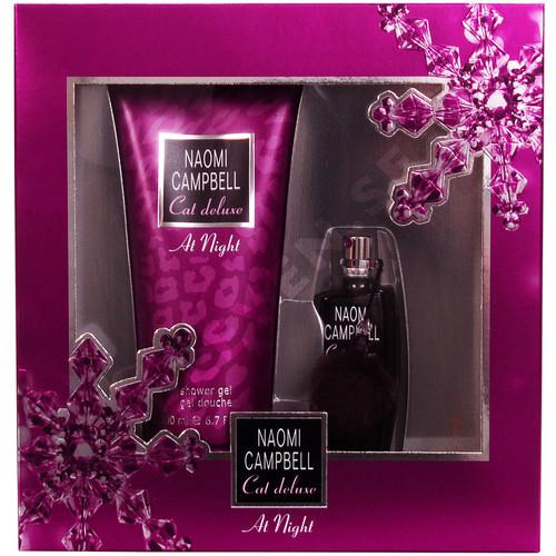 Naomi Campbell Cat Deluxe At Night, Dárková sada, toaletní voda 15ml + sprchový gel 200ml, Dámska vôňa, + AKCE: dárek zdarma