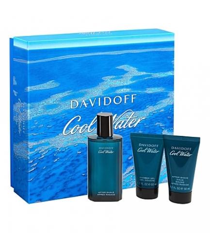 Davidoff Cool Water Man, Dárková sada, toaletná voda 125ml + sprchový gel 75ml + balzám po holení 75ml, Pánská vůně, + AKCE: dárek zdarma