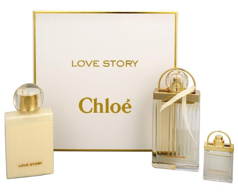 Chloe Love Story, Dárková sada, parfémovaná voda 75ml + parfémovaná voda 7,5ml + telové mléko 100ml, Dámska vôňa, + AKCE: dárek zdarma