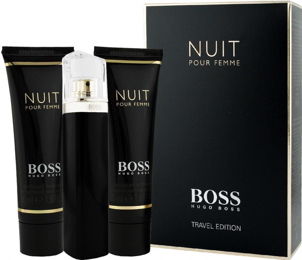 Hugo Boss Nuit Pour Femme, Dárková sada, parfémovaná voda 75ml + tělové mléko 50ml + sprchový gel 50ml, Dámska vôňa, + AKCE: dárek zdarma