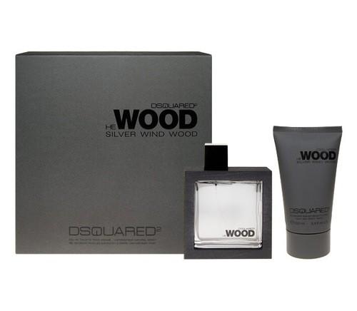 Dsquared2 He Wood Silver Wind Wood, Dárková sada, toaletní voda 50ml + sprchový gel 100ml, Pánska vôňa