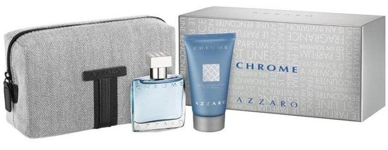 Azzaro Chrome, toaletní voda 30ml + sprchový gel 50ml + kosmetická taška, Dárková sada