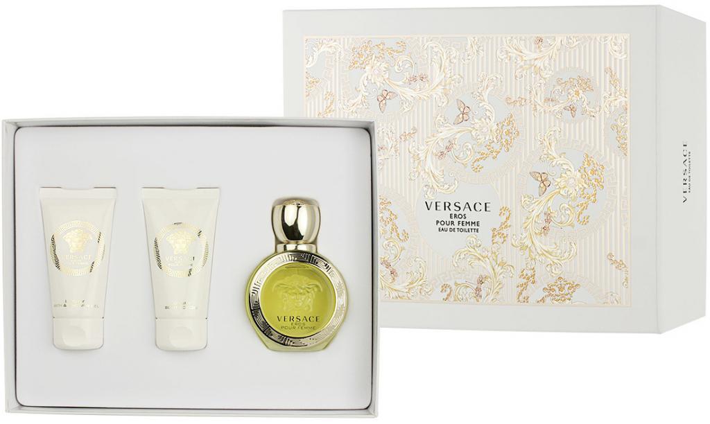 Versace Eros Pour Femme, Dárková sada, toaletní voda 50ml + tělové mléko 50ml + sprchový gel 50ml, Dámska vôňa