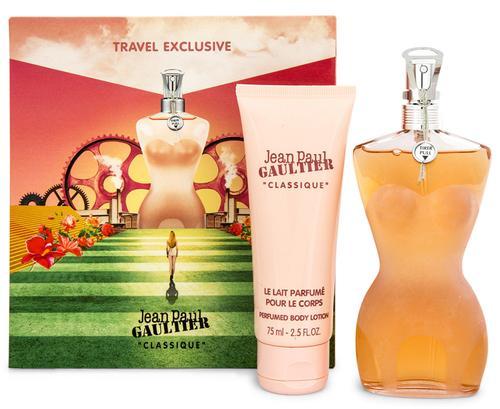 Jean Paul Gaultier Classique, Dárková sada, Dámska vôňa, toaletní voda 100ml + tělové mléko 75ml (Travel set)