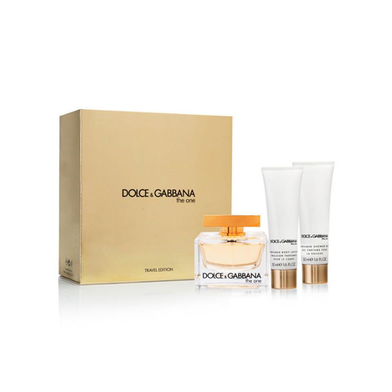 Dolce & Gabbana The One, parfémovaná voda 75ml + sprchový gel 50ml + tělové mléko 50ml (Travel set), Dárková sada