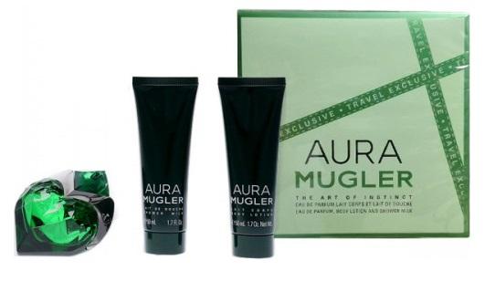 Thierry Mugler Aura, parfémovaná voda 50ml + tělové mléko 50ml + sprchový gel 50ml (Travel set), Dárková sada