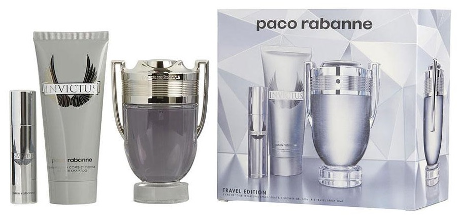 Paco Rabanne Invictus, Dárková sada, Pánska vôňa, toaletní voda 100ml + toaletní voda 10ml + sprchový gel 100ml