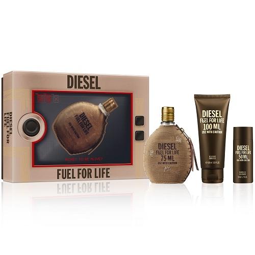 Diesel Fuel For Life Homme, toaletní voda 75ml + sprchový gel 100ml + sprchový gel 50ml , Dárková sada