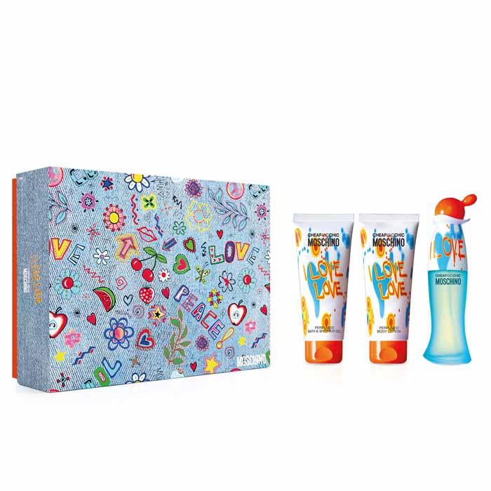Moschino I Love Love, Dárková sada, toaletní voda 50ml + tělové mléko 100ml + sprchový gel 100ml, Dámska vôňa