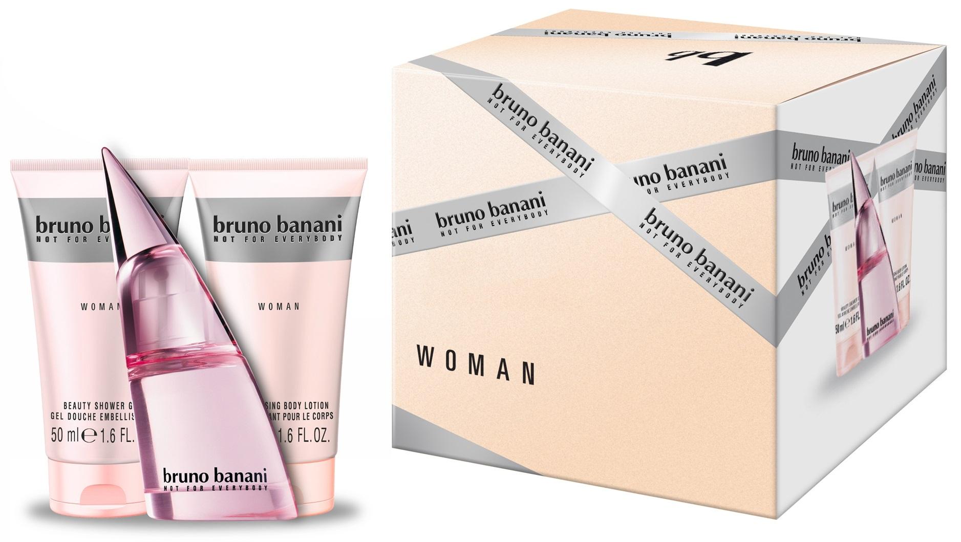 Bruno Banani Bruno Banani Woman, toaletní voda 30ml + sprchový gel 50ml + tělové mléko 50ml, Dárková sada