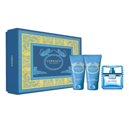 Versace Man Eau Fraiche, Dárková sada, toaletní voda 50ml + sprchový gel 50ml + balzam po holení 50ml, Pánska vôňa