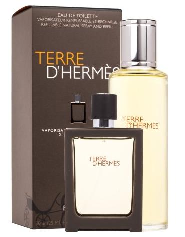 Hermes Terre D´Hermes, Dárková sada, toaletní voda 30ml + toaletní voda náplň 125ml , Pánska vôňa