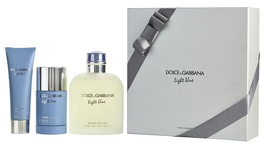 Dolce & Gabbana Light Blue pour Homme, Dárková sada, toaletní voda 200ml + deostick 75ml + sprcho
