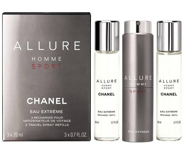 Chanel Allure Homme Sport Eau Extreme, Parfémovaná voda, 3x20ml (1x plnitelná + 2x náplň), Pánska vôňa