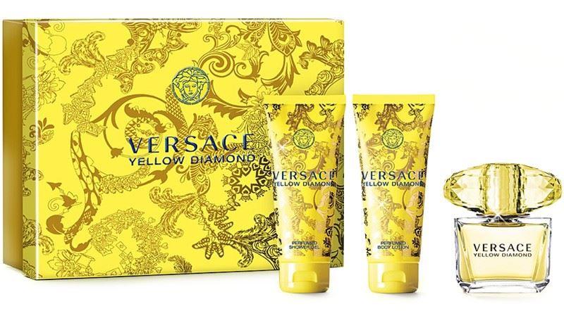 Versace Yellow Diamond, Dárková sada, Dámska vôňa, toaletní voda 50ml + tělové mléko 50ml + sprchový gel 50ml