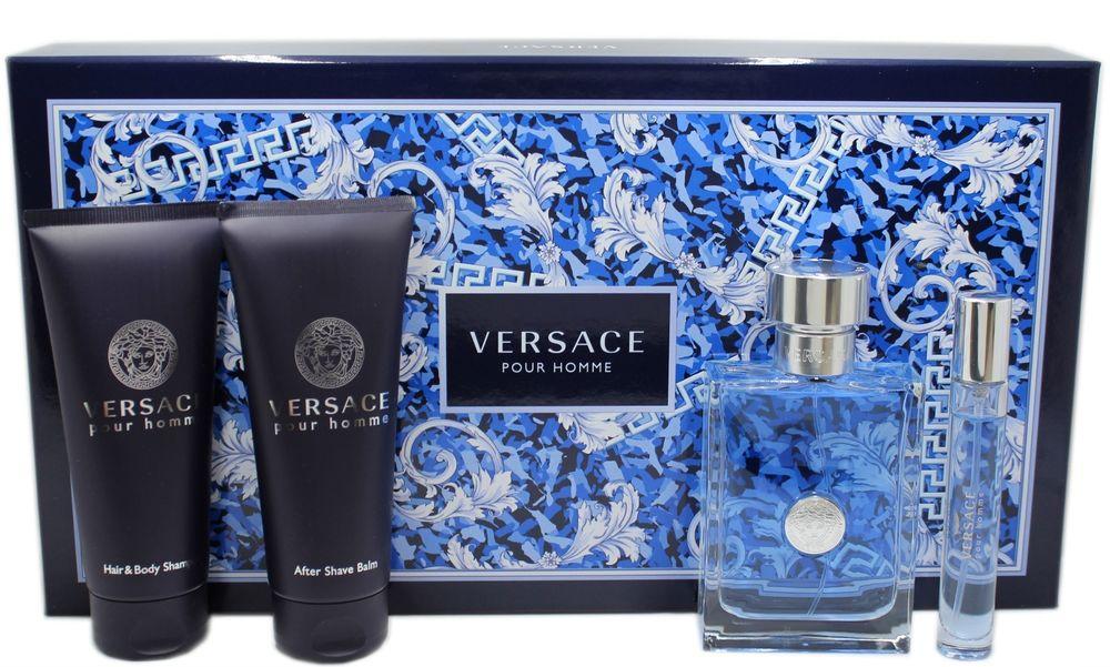 Versace Versace pour Homme, Dárková sada, toaletní voda 100ml + sprchový gel 100ml + balsam po holení 100ml + toaletní voda 10ml, Pánska vôňa
