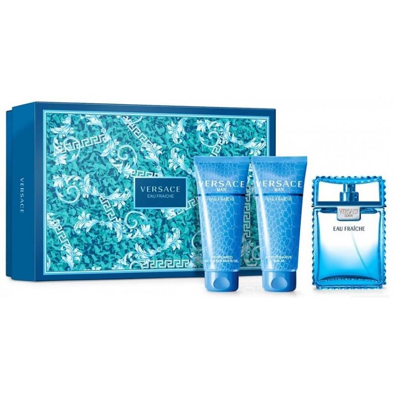 Versace Eau Fraiche Man, Dárková sada, toaletní voda 50ml + sprchový gél 50ml + šampon 50ml, Pánska vôňa