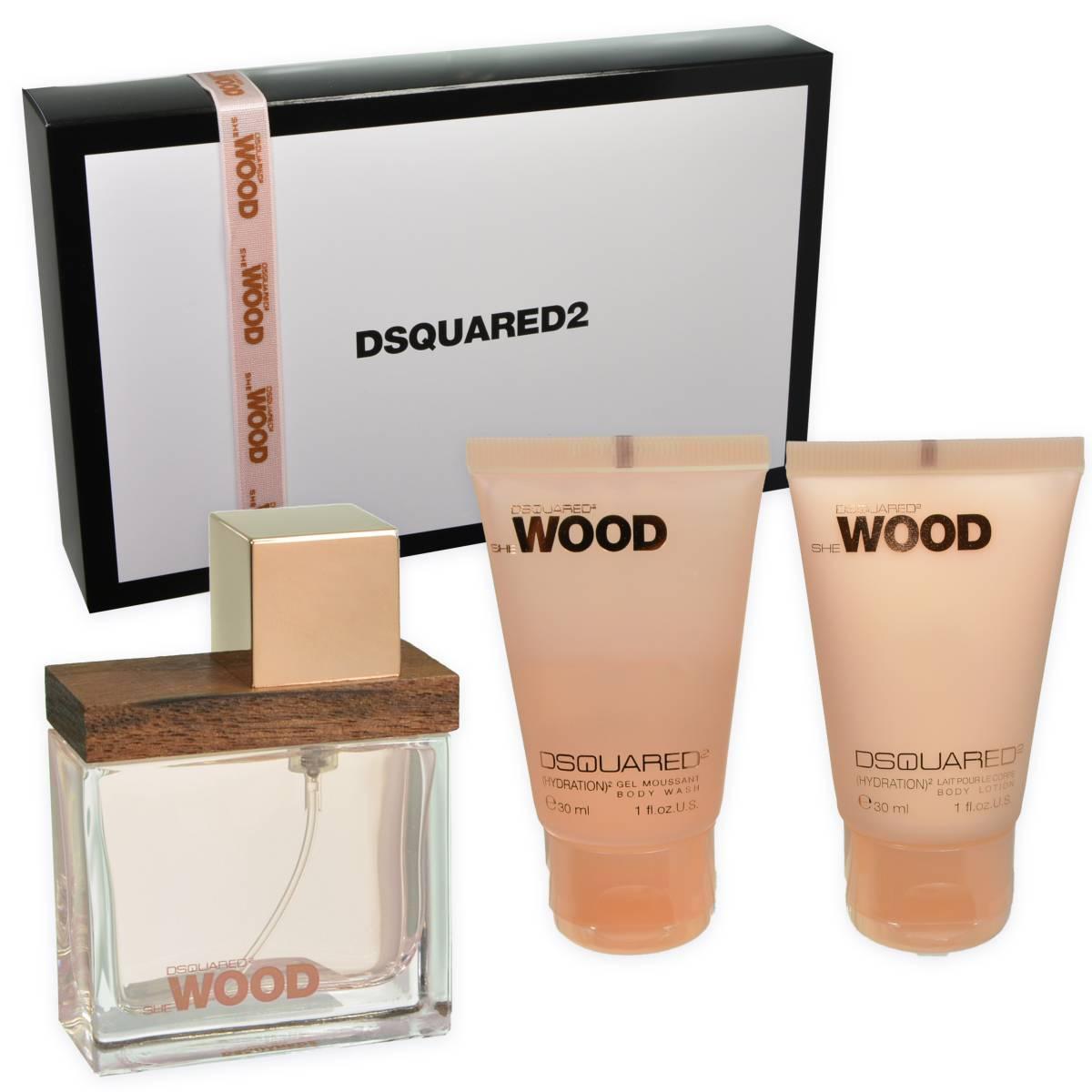 Dsquared2 She Wood, Dárková sada, parfémovaná voda 30ml + sprchový gel 30ml + tělové mléko 30ml, Dámska vôňa