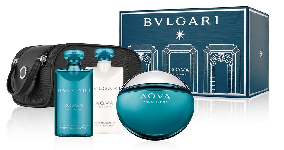 Bvlgari Aqva pour Homme, Dárková sada, Pánska vôňa, toaletní voda 100ml + sprchový gel 75ml + balzám po holení 75ml + taška