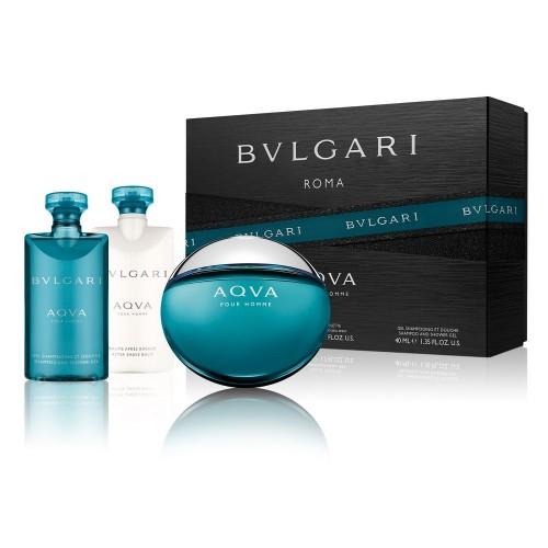 Bvlgari Aqva pour Homme, Dárková sada, toaletní voda 50ml + sprchový gel 40ml + balzám po holení 40ml, Pánska vôňa