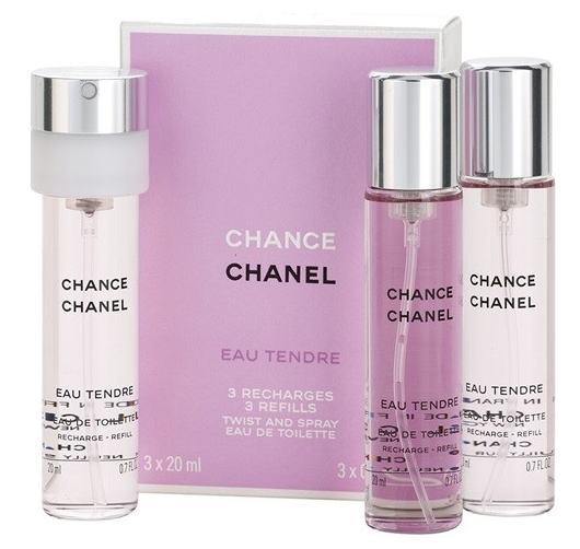 Chanel Chance Eau Tendre, Toaletní voda, 3 x 20ml, Dámska vôňa