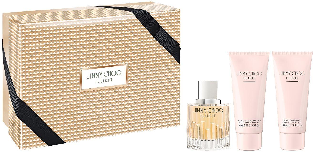 Jimmy Choo Illicit, Dárková sada, Dámska vôňa, parfémovaná voda 100ml + tělové mléko 100ml + sprchový gel 100ml