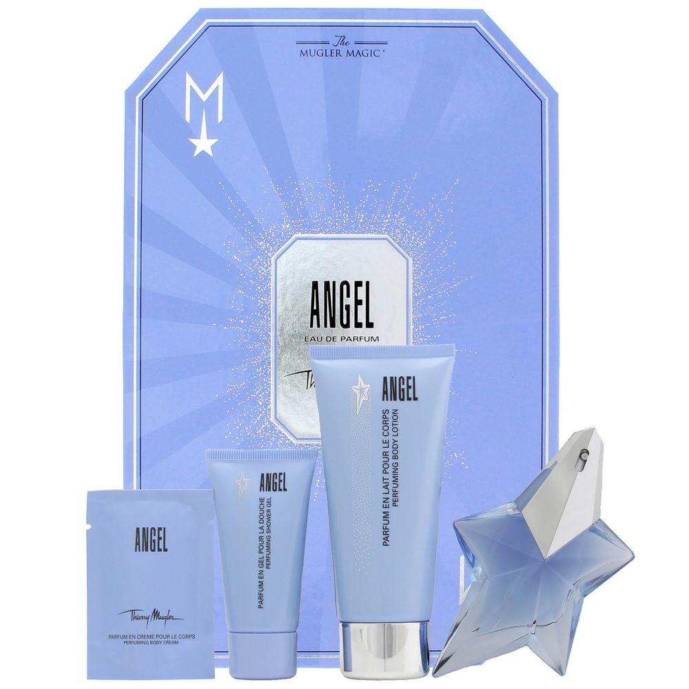 Thierry Mugler Angel, Dárková sada, parfémovaná voda 25ml plnitelny + tělové mléko 100ml + sprchový gel 30ml + tělový krém 10ml, Dámska vôňa