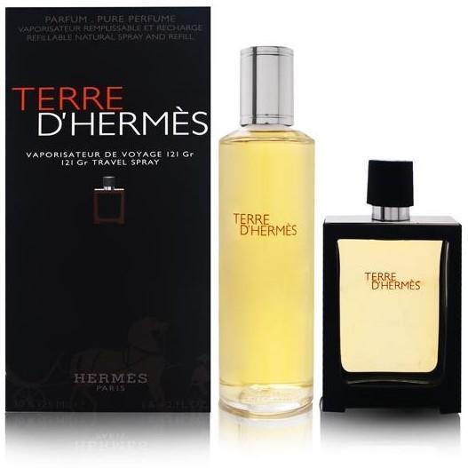 Hermes Terre D´Hermes Parfum, Dárková sada, parfémovaná voda náplň 125ml + parfémovaná voda plnitelný 30ml, Pánska vôňa