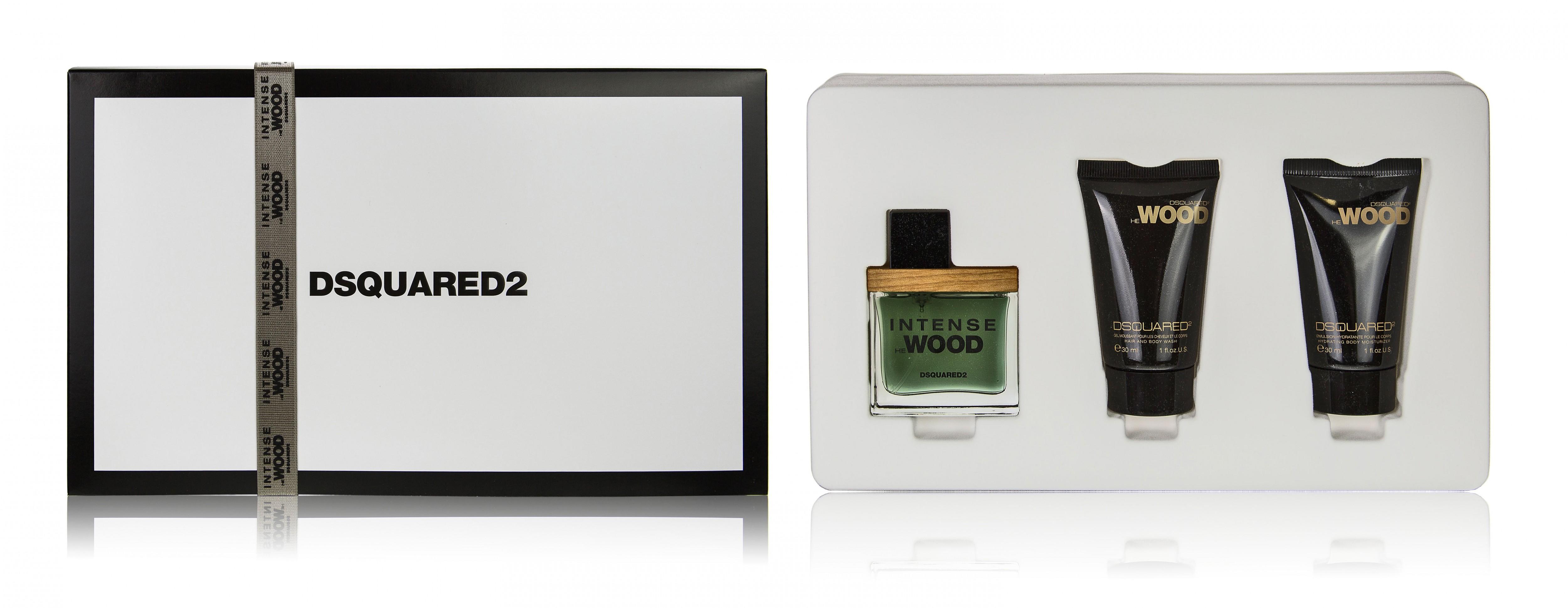 Dsquared2 He Wood Intense, Dárková sada, toaletní voda 30ml + sprchový gel 2in1 30ml + tělové mléko 30ml, Pánska vôňa