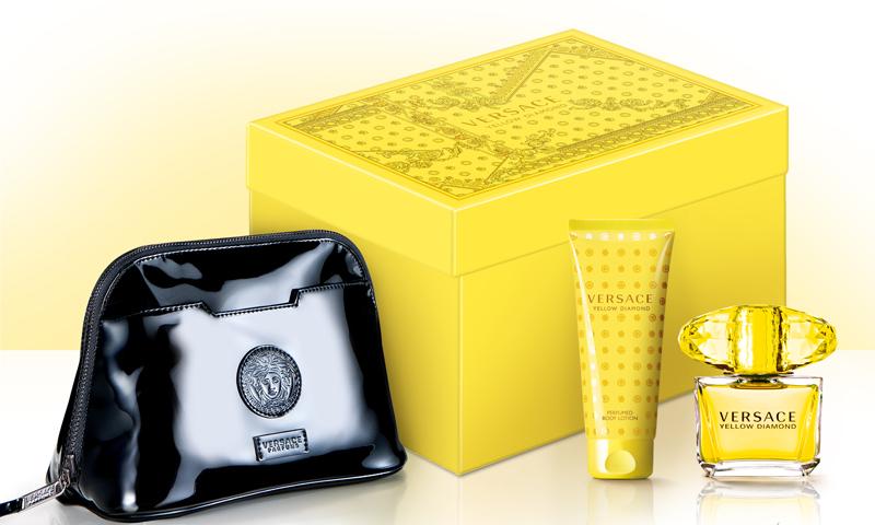 Versace Yellow Diamond, Dárková sada, toaletní voda 90ml + tělové mléko 100ml + taška, Dámska vôňa