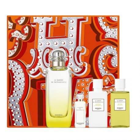 Hermes Le Jardin de Monsieur Li, Dárková sada, Unisex vôňa, toaletní voda 100ml + toaletní voda 7.5ml + tělové mléko 40ml + sprchový gel 40ml