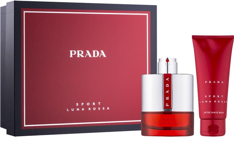 Prada Luna Rossa Sport, Dárková sada, toaletní voda 100ml + balzám po holení 100ml, Pánska vôňa